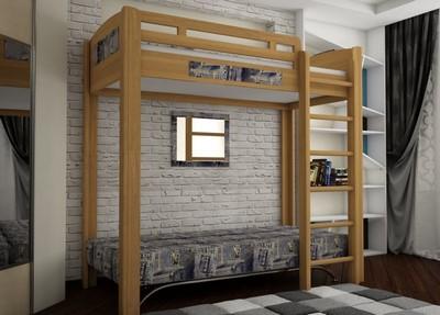 Кровать чердак из натурального дерева