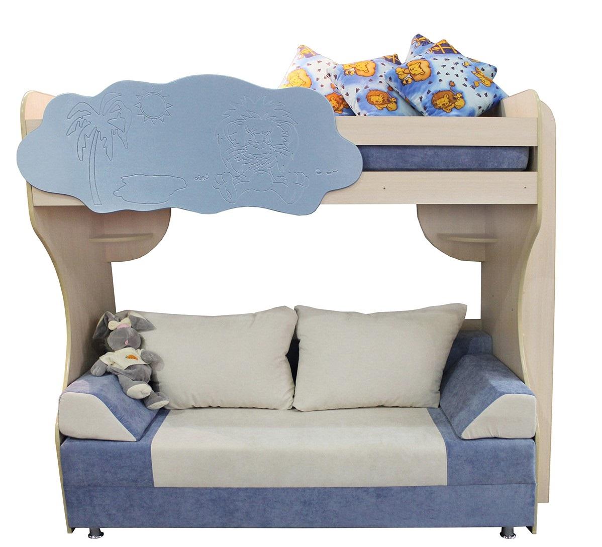 Кровать-чердак с диваном в интерьере детской комнаты