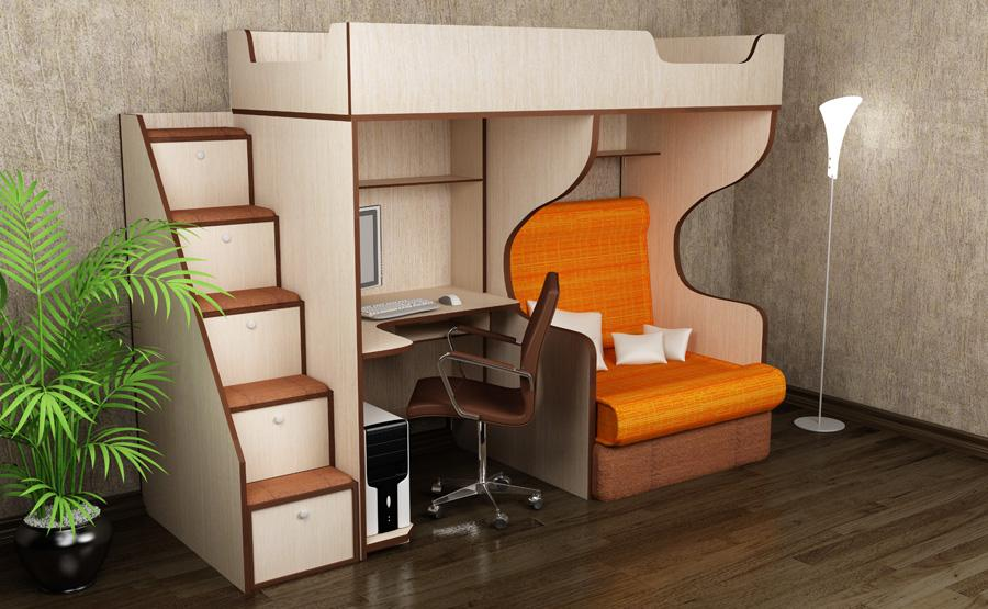 Кровать чердак с креслом