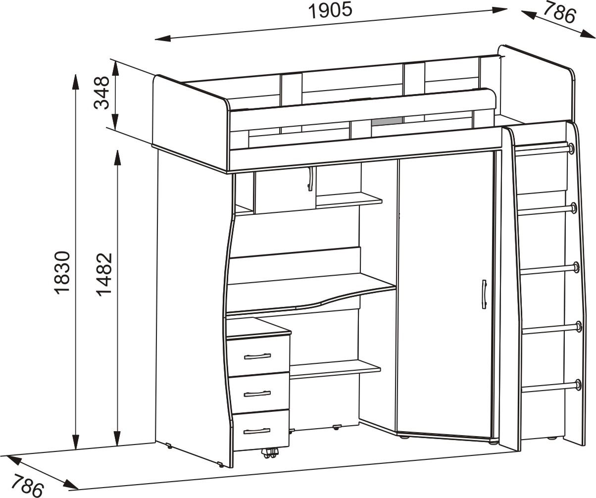 Кровать-чердак с рабочей зоной чертеж