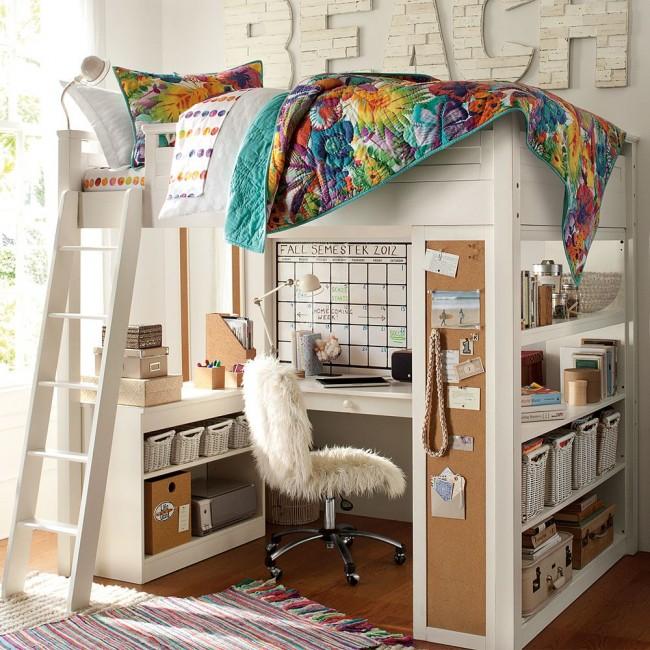 Кровать-чердак с рабочей зоной - идеальный вариант для детской комнаты