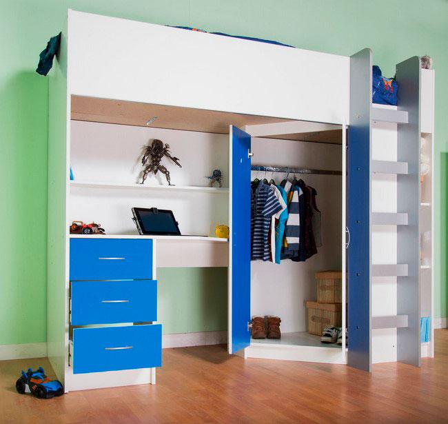 Кровать-чердак с угловым шкафом для одежды и рабочей зоной