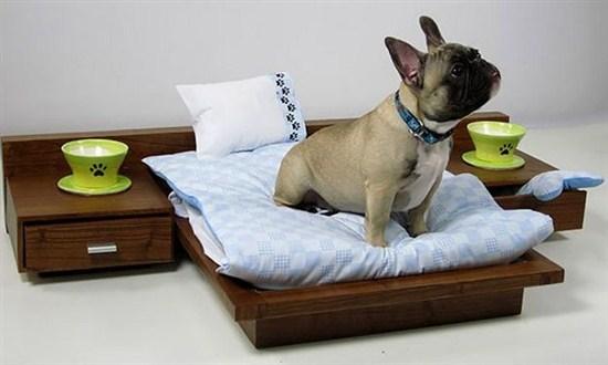 Кровать для собаки из натурального дерева