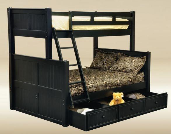 Кровать двухъярусная черного цвета для игр девочки