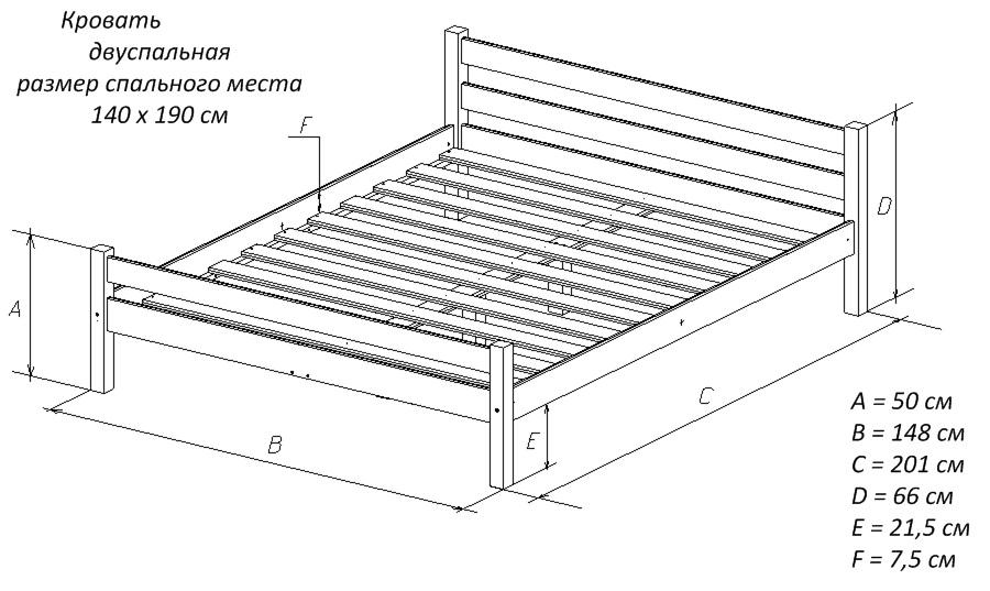 Кровать двуспальная 140х190
