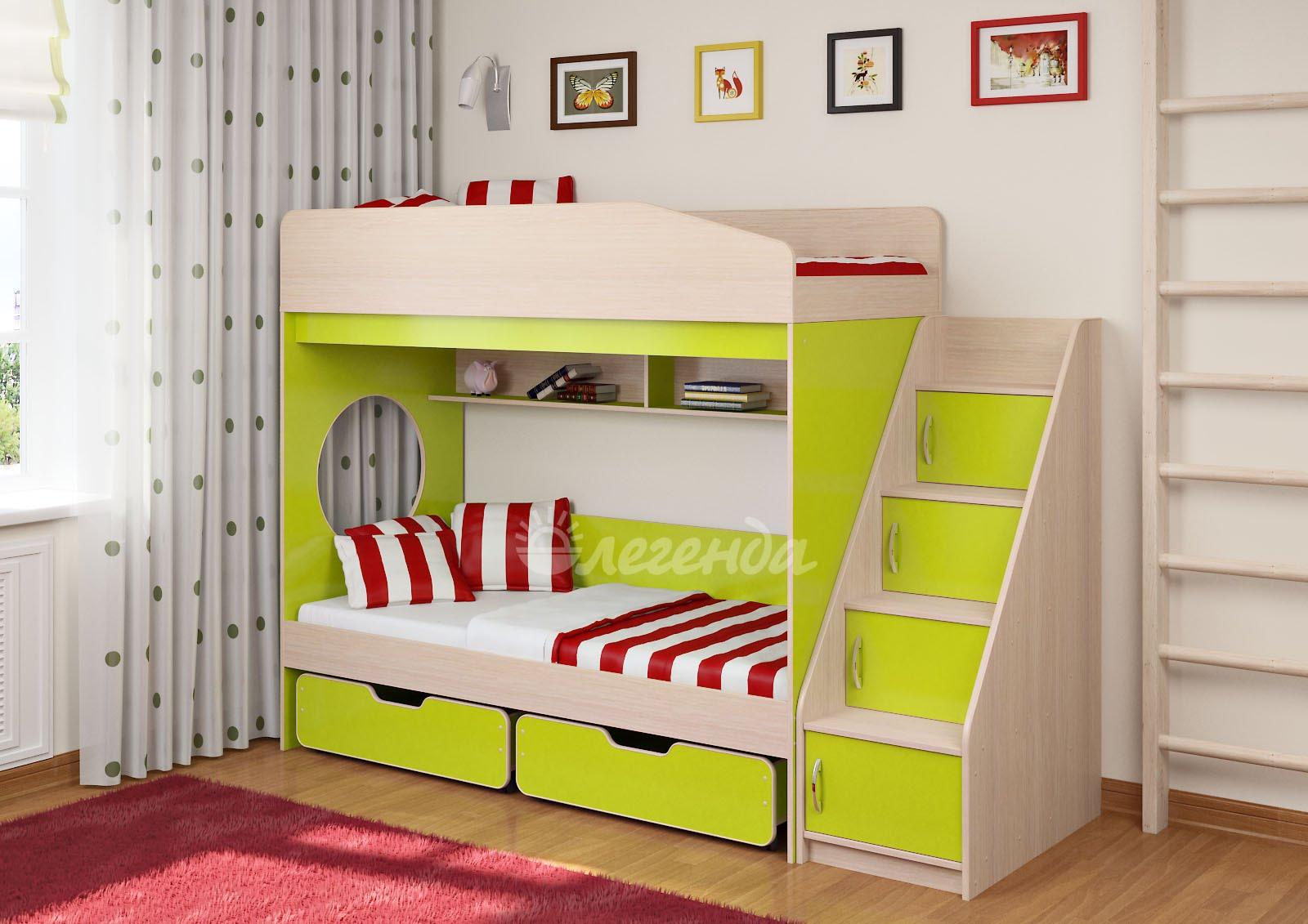 Кровать из двух ярусов с лесенкой