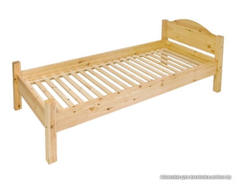Кровать изготовлена из массива сосны, покрыта прозрачным лаком