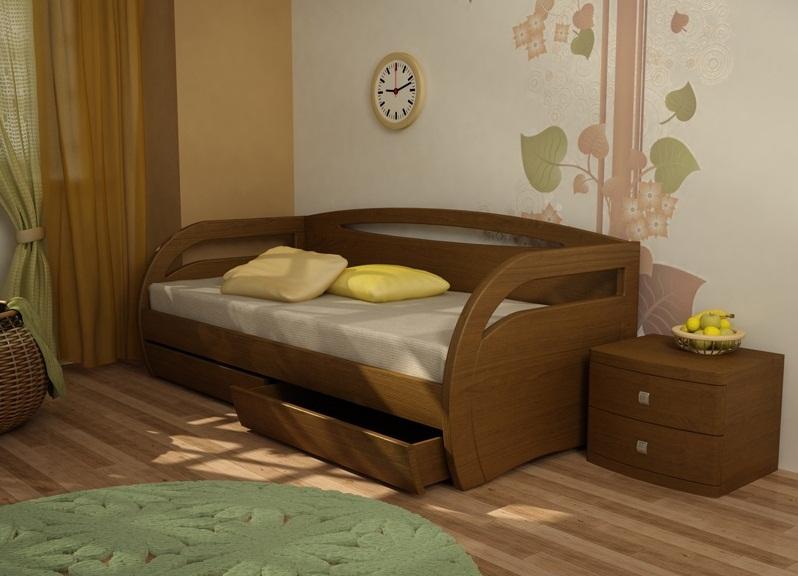 Кровать с ящиками коричневого цвета