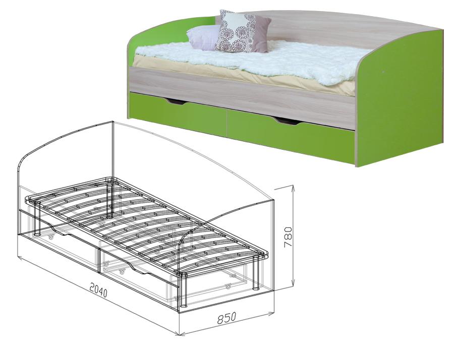 Кровать с ящиками, со спинкой