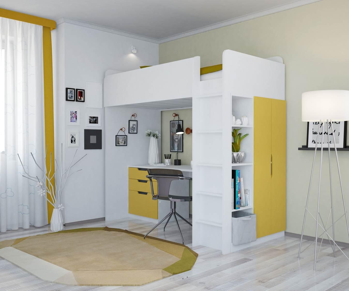 Кровать со столом и шкафом