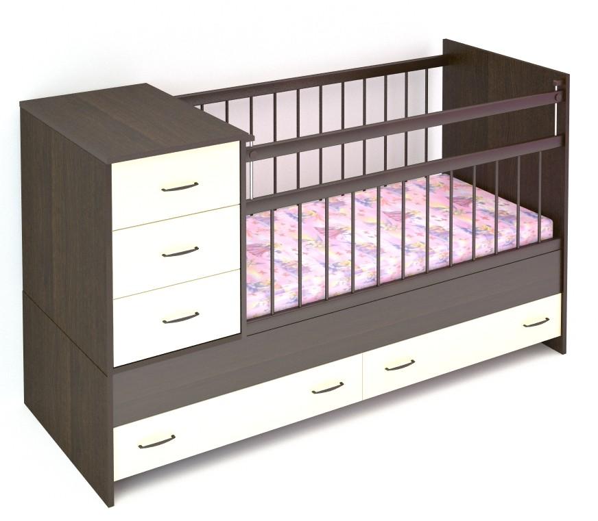 Кровать-трансформер детская с комодом