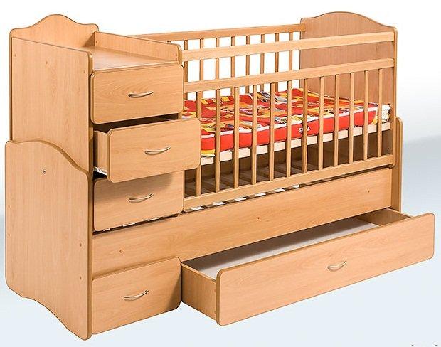 Кровать-трансформер с ящиками и тумбой