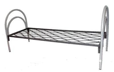 Кровати металлические односпальные одноярусные с панцирной пружинной сеткой