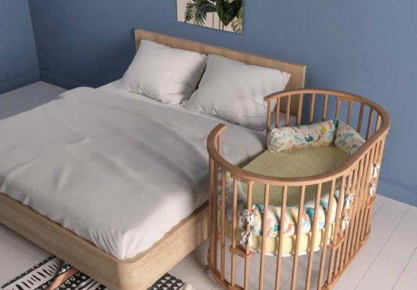 Круглая приставная кроватка для новорожденных