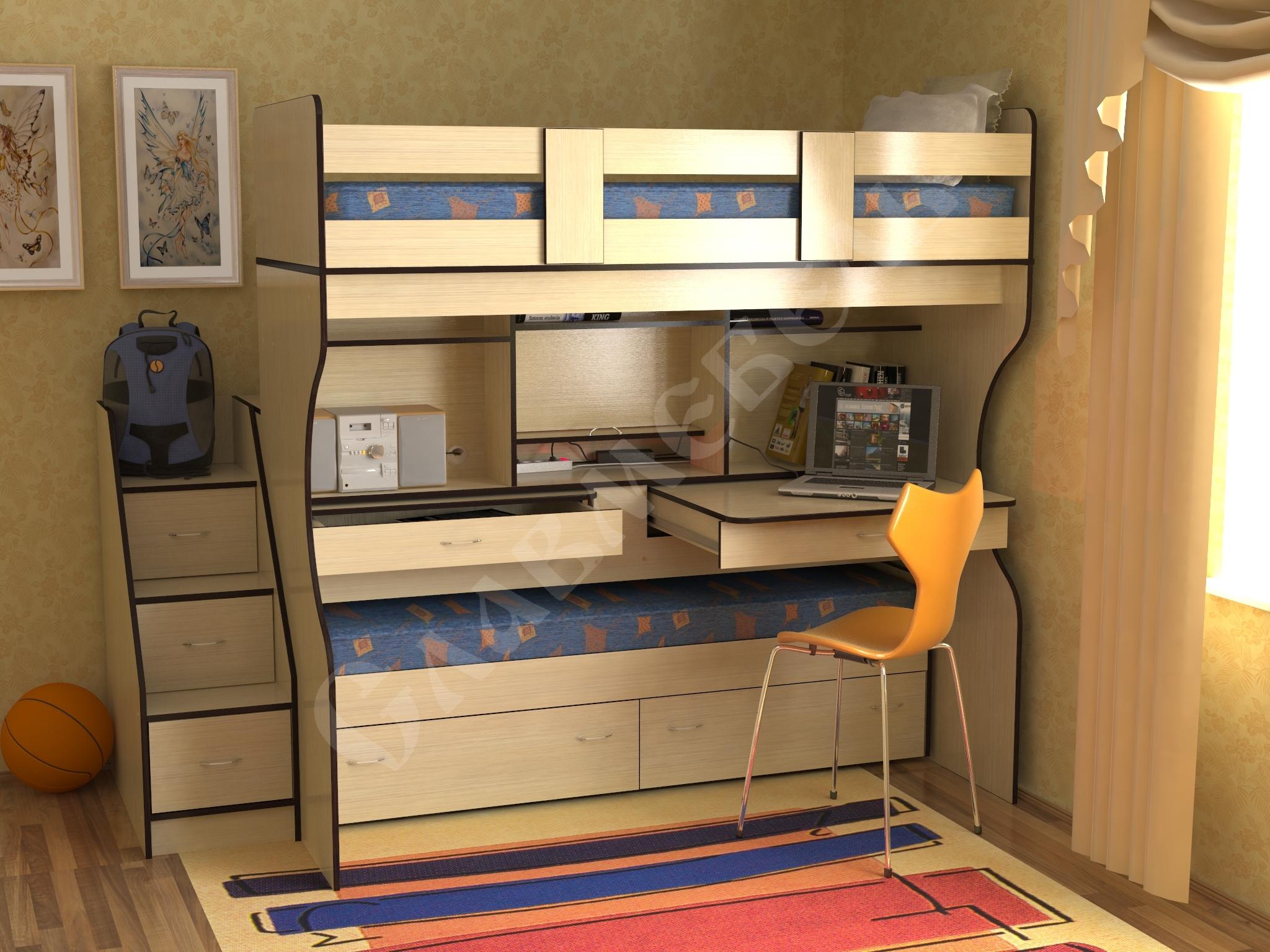 Мебель для детской комнаты рассчитанная на двух детей