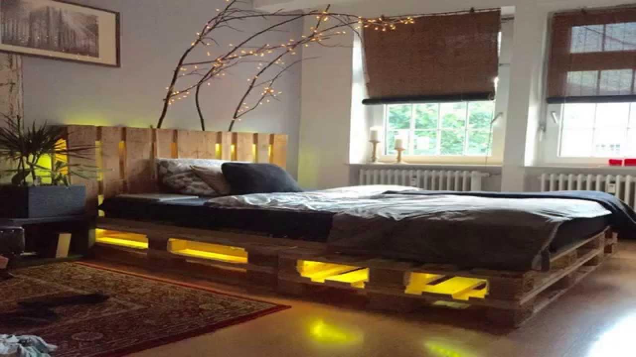 Мебель из дерева кровать из поддонов с подсветкой своими руками