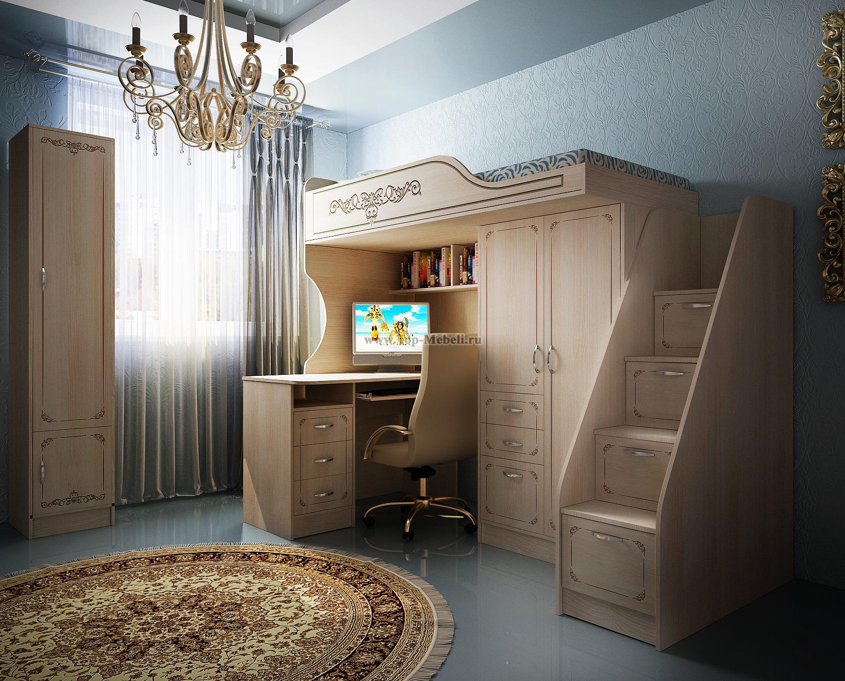 Интерьер с кроватью чердаком