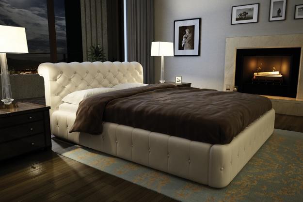 Мягкая кровать со стеганным изголовьем