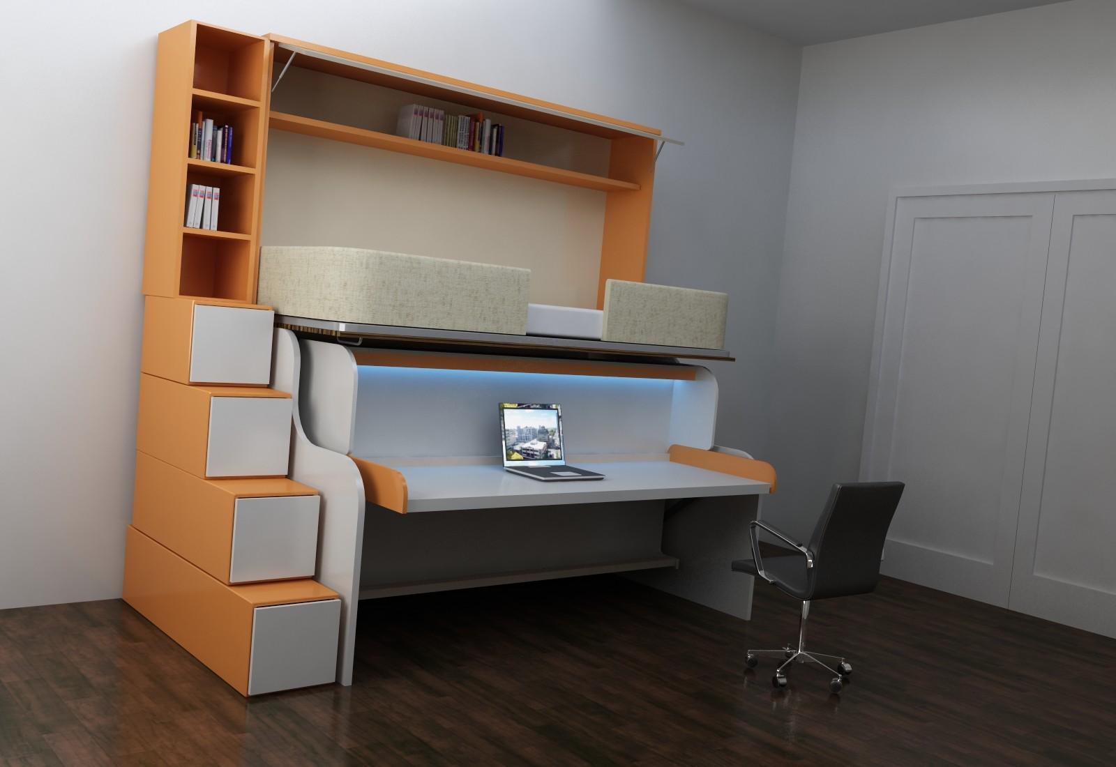 Оранжевые оттенки корпусной мебели