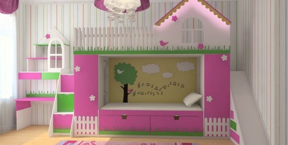 Особенности подбора двухъярусной кровати для девочек