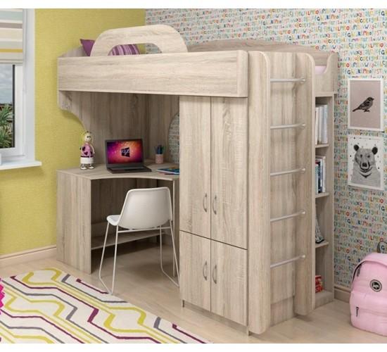 Подростковая кровать чердак со шкафом и столом
