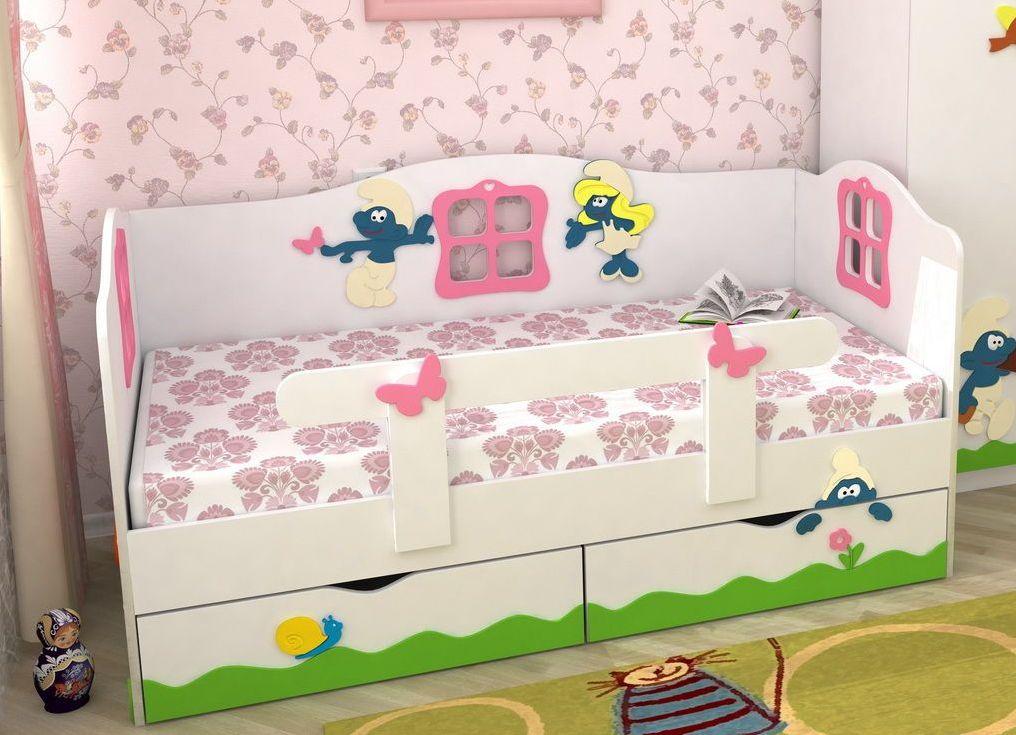 Расположение бортиков дизайна - кровати по середине
