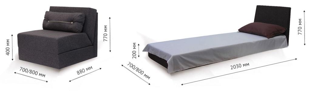 Размеры кресла кровати
