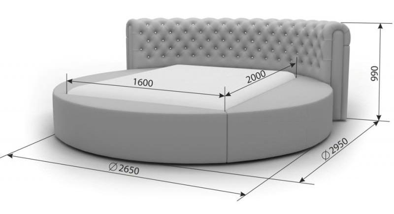 Размеры круглой кровати для двоих