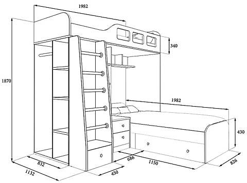 Размеры угловой двухъярусной кровати с детским хозяйственным уголком