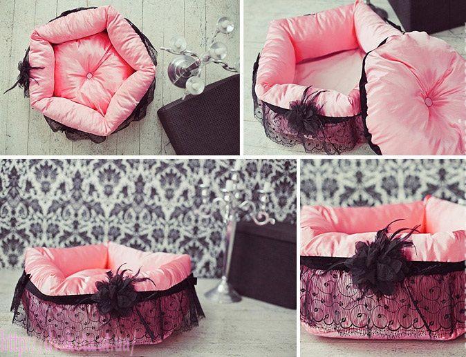 Розовая кроватка для собаки