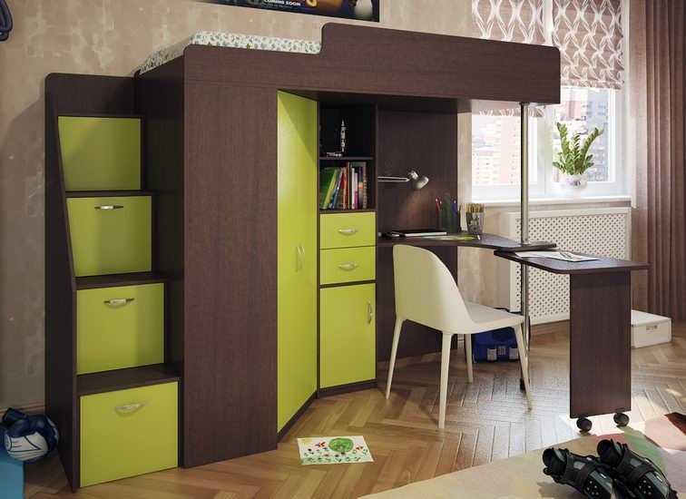 С однодверным шкафом и выдвижным столом