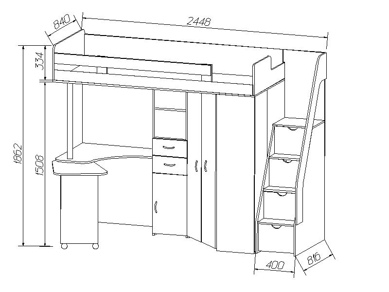 Схема детской кровати чердак с лестницей-комодом