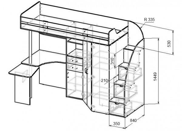 Схема кровати с односторонней опорой