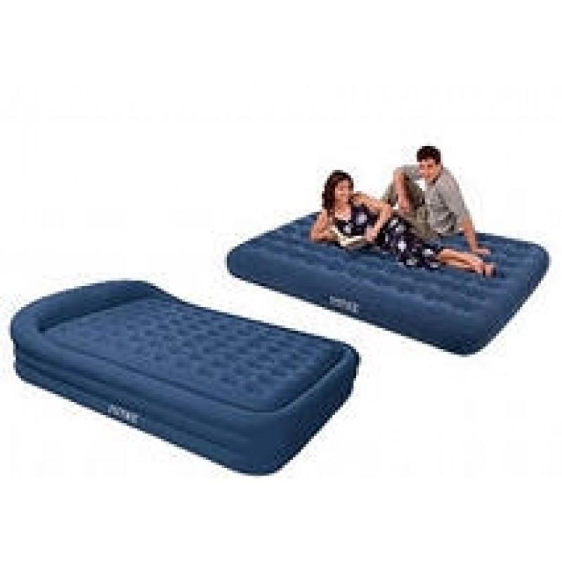 Синяя двупспальная кровать