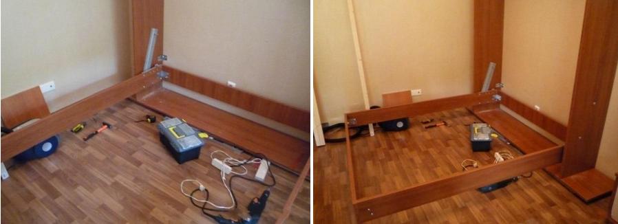 Соединяем кровать и шкаф