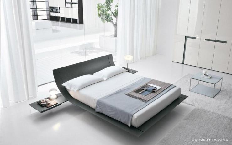 Современная кровать серого цвета