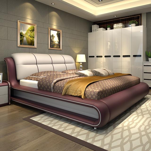 Современная спальня мебель кровать с натуральная кожа