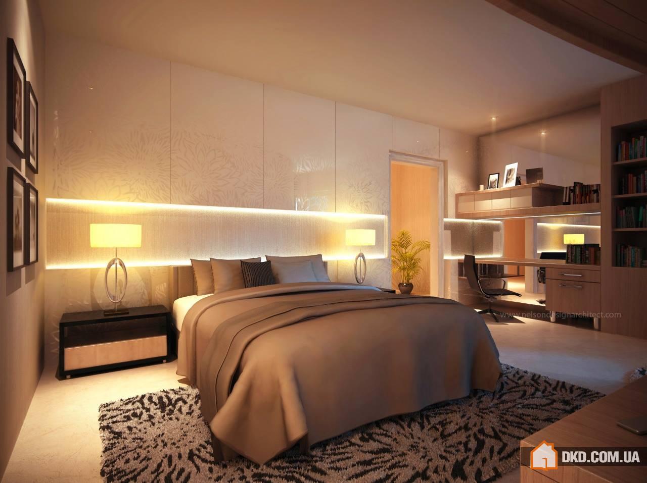 Современные спальни с подсветкой изголовья кровати