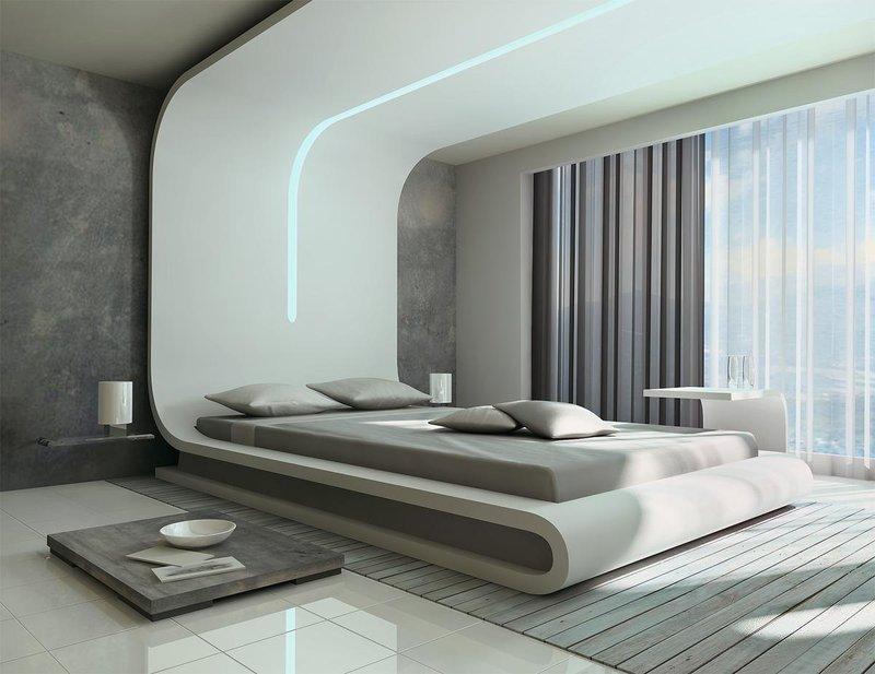 Современный стиль хай-тек в спальне