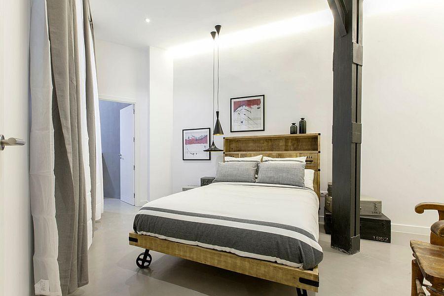 Спальня в стиле лофт с подвесными люстрами
