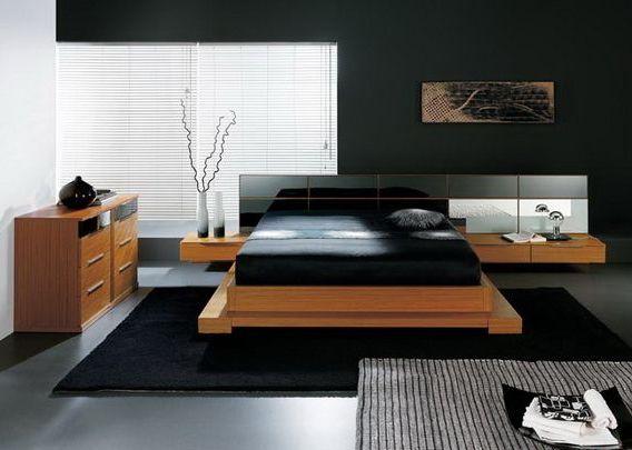 Спальный гарнитур изготовленн из светлого текстурного ДСП