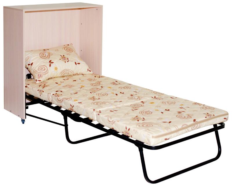 Светлая кровать тумба
