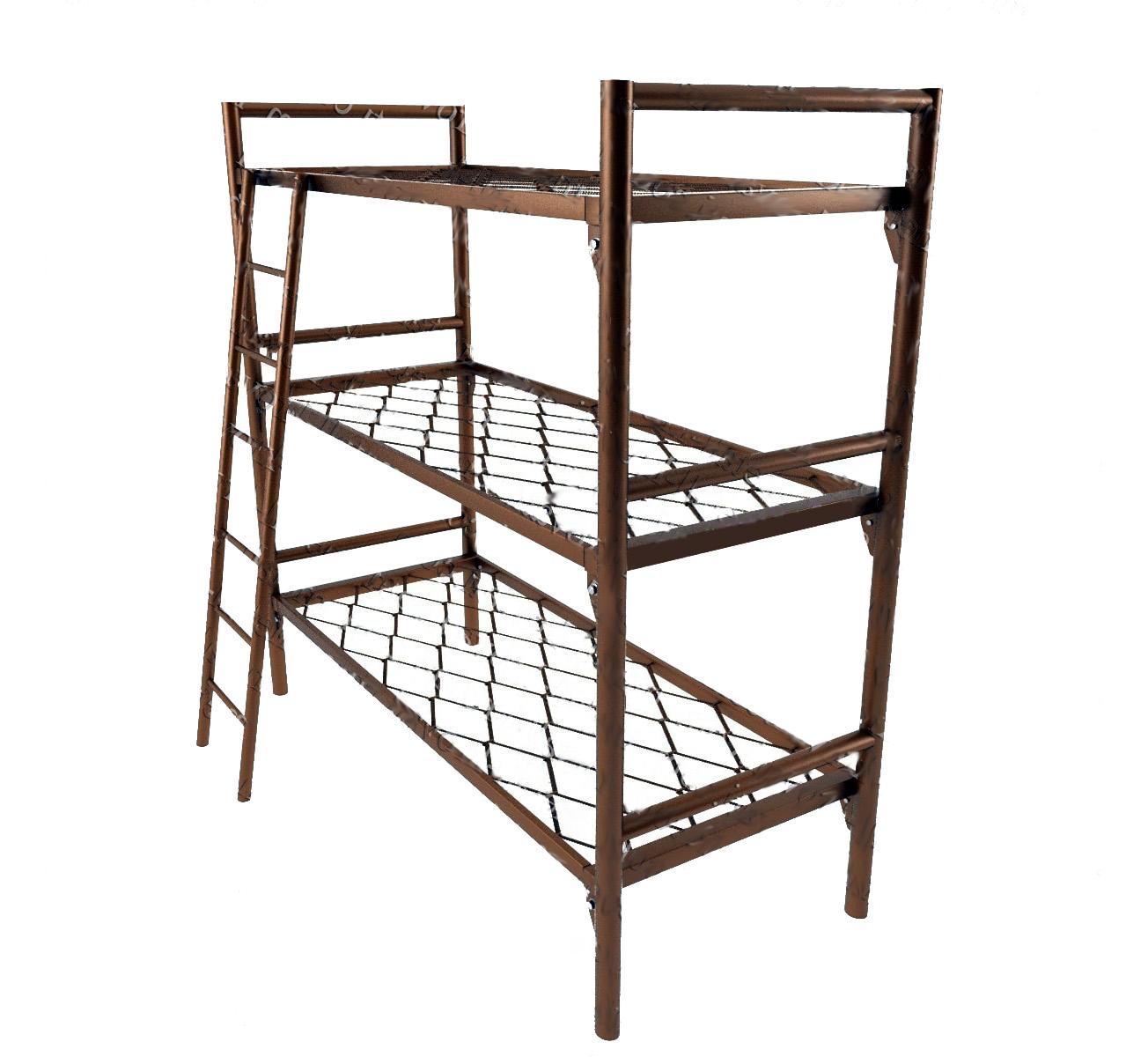Трёхъярусная металлическая кровать сетка