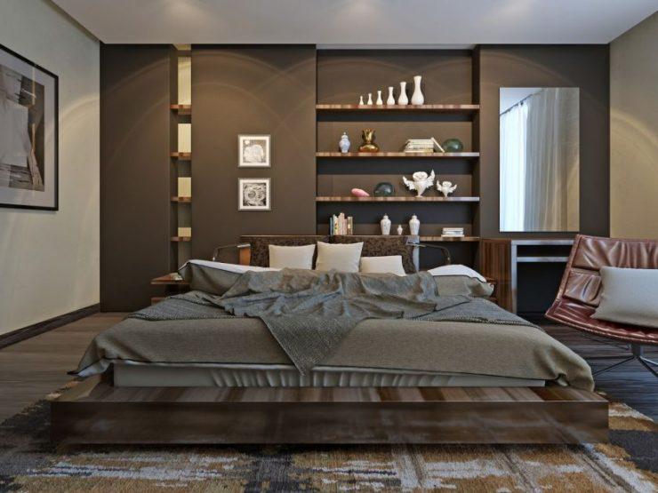 В зависимости от конструкции, настенные полки в спальню бывают различными