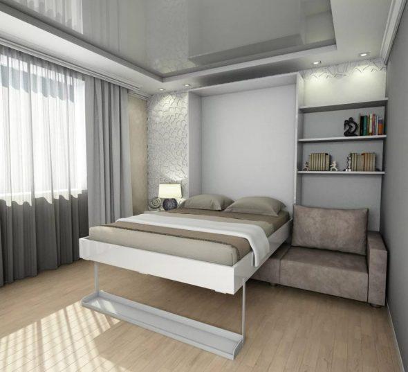 Встроенная кровать трансформер в спальне