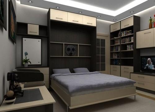 Встроенная в шкаф кровать в маленькой спальне