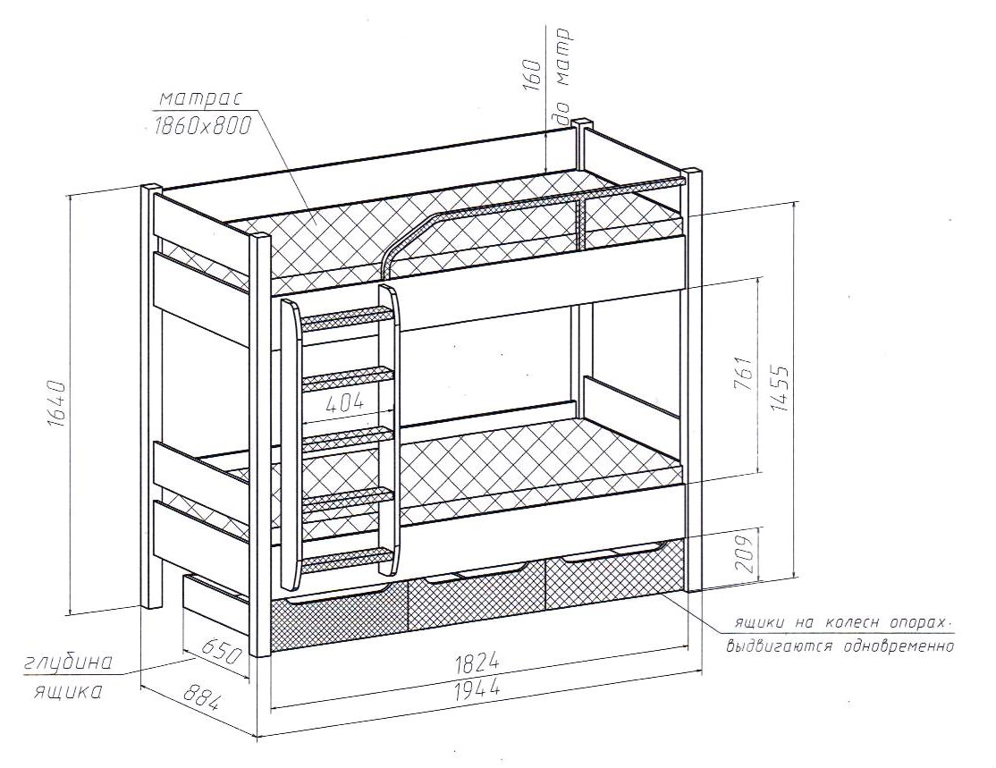 Выбираем размеры двухъярусной кровати для детей