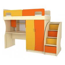 Двухярусная кровать-чердак из дерева