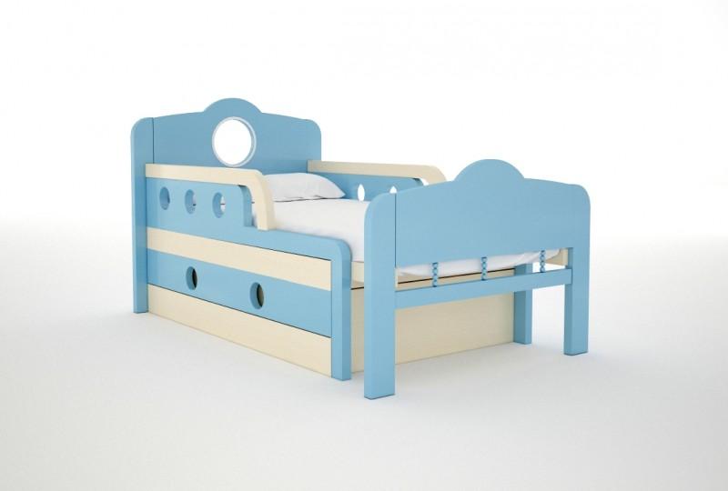 Голубая детская кроватка