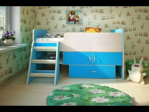 Голубая кровать-чердак для ребенка